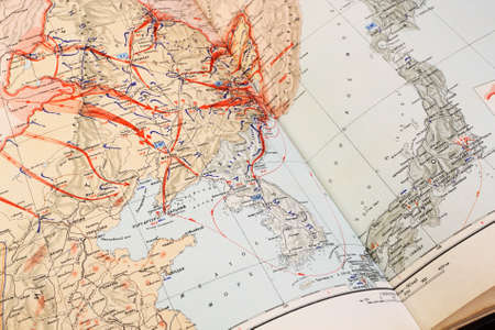 the far east: Military map of World War II on the Far East, 9 August - 2 September 1945