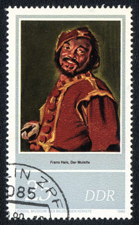 frans: DDR  - CIRCA 1980  A stamp printed in DDR shows Frans Hals  The Mulatto , 1627, circa 1980