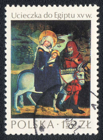 xv century: POLAND  - CIRCA 1974: A stamp printed in POLAND shows picture of the Flight into Egypt XV century, The National Museum, Krakow, circa 1974
