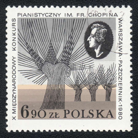chopin: POLAND  - CIRCA 1980: A stamp printed in POLAND shows Portrait of  Fryderyk Chopin, Composer and 10 International Chopin Piano Competition, circa 1980