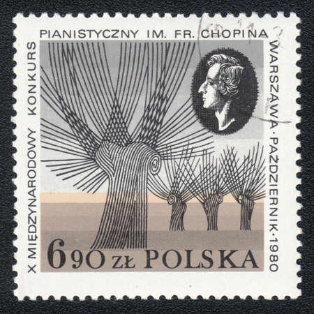 fryderyk chopin: POLAND  - CIRCA 1980: A stamp printed in POLAND shows Portrait of  Fryderyk Chopin, Composer and 10 International Chopin Piano Competition, circa 1980