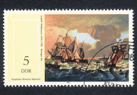 ddr: DDR - CIRCA 1982: A stamp printed in DDR  shows Seascape by Ludolf Backhuysen (1631-1708), from the series 17th Cent. Paintings in Natl. Museum, Schwerin, circa 1982
