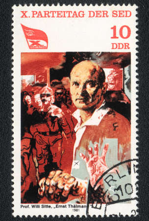 ddr: DDR - CIRCA  1981: A stamp printed in DDR  shows  portrait of Ernst Thalmann (1886-1944) by Willi Sitte, 10th Communist Party Congress ( Paintings), circa 1981