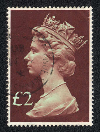 GREAT BRITAIN - CIRCA 1980: stamp printed by Great Britain, shows Portrait of Queen Elizabeth 2nd, circa 1980