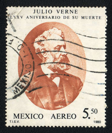 MEXICO  - CIRCA 1980  A stamp printed in MEXICO shows portrait of  Jules Verne, French novelist, poet, and playwright, circa 1980 Stock Photo - 20425143