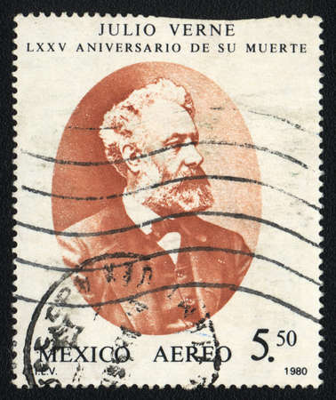 novelist: MEXICO  - CIRCA 1980  A stamp printed in MEXICO shows portrait of  Jules Verne, French novelist, poet, and playwright, circa 1980