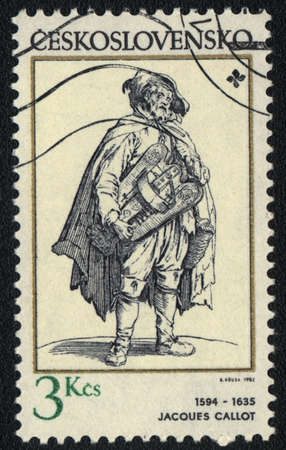 jacques: CZECHOSLOVAKIA - CIRCA 1982: A stamp printed in CZECHOSLOVAKIA  shows Street musician by Jacques Callot , circa 1982