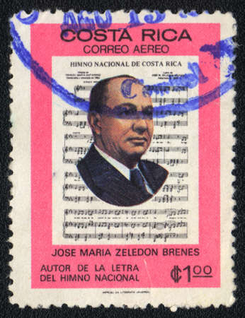 anthem: COSTA RICA - CIRCA 1981: A stamp printed in COSTA RICA  shows Jose Maria Zeledon Brenes - Costa Rican politician, poet, journalist and writer, circa 1981