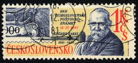 printmaker: CZECHOSLOVAKIA - CIRCA 1981: A stamp printed in CZECHOSLOVAKIA  shows portrait of Eduard Karel (1861-1950) Edward Charles Czech graphic artist and printmaker, circa 1981 Editorial