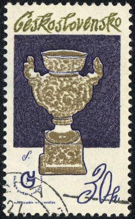 czechoslovakia: CZECHOSLOVAKIA - CIRCA 1977: A stamp printed in CZECHOSLOVAKIA  shows Vase with gold decor, circa 1977 Editorial