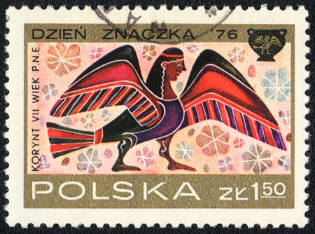 POLAND  - CIRCA  1976: A stamp printed in POLAND shows Winged Sphinx, Corinthian Vase Designs , circa 1976