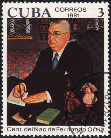 anthropologist: CUBA  - CIRCA  1981: A stamp printed in CUBA shows Portrait of Fernando Ortiz, circa 1981