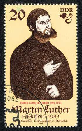 theologian: DDR - CIRCA 1982: A stamp printed in DDR  shows Martin Luther, Christian theologian, circa 1982