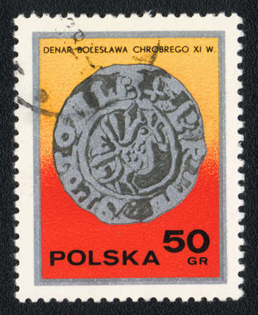POLAND - CIRCA 1982: A stamp printed in POLAND  shows Denar Boleslaw, circa 1982