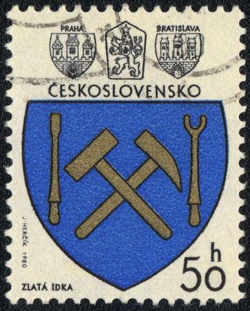 czechoslovakia: CZECHOSLOVAKIA - CIRCA 1980: A stamp printed in CZECHOSLOVAKIA  shows Zlata Idka Coat of Arms , circa 1980