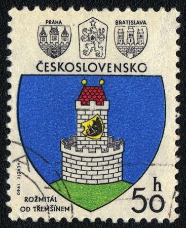 czechoslovakia: CZECHOSLOVAKIA - CIRCA 1980: A stamp printed in CZECHOSLOVAKIA  shows emblem Rozmital pod Tremzinem, circa 1980