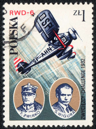 POLAND - CIRCA 1982: A postage stamp printed in Poland from the Aviation History and 50th Anniversary of Polish Aero Club, shows Franciszek Zwirko and Stanislaw Wigura with RWD-6 SP-AHN aircraft, circa 1982.