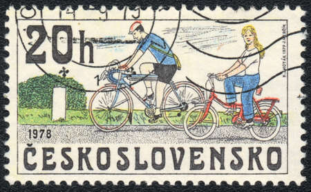czechoslovakia: A stamp printed in CZECHOSLOVAKIA  shows cyclists , from series, circa 1979