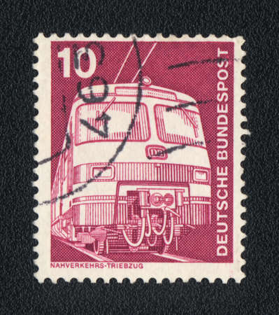 bundespost: A stamp printed in DDR  shows Electric locomotive and inscription Deutsche  Bundespost, circa 1963