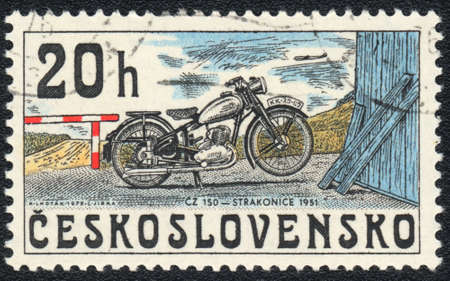 czechoslovakia: A stamp printed in CZECHOSLOVAKIA  shows Old motorcycle, from series, circa 1976