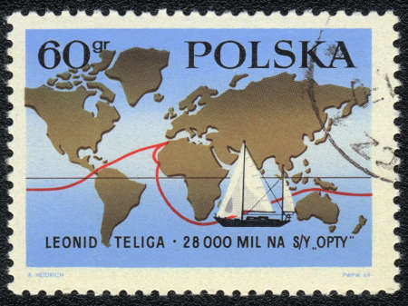 yachtsman: A stamp printed in POLAND shows  map with route of world tour of polish yachtsman Leonid Teliga , circa 1970