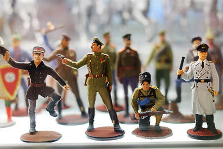 Figurines of military characters with gun in a shop window in St. Petersburg, Russia