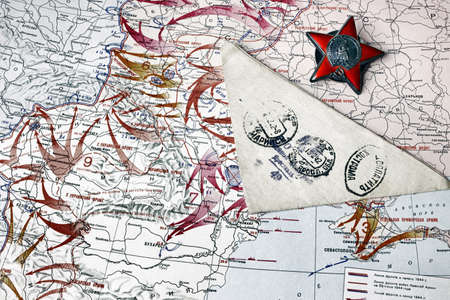 russia map: Map of hostilities in World War II, the Order of the Red Star and triangular letter from the front, 1945