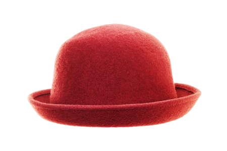 Vintage red hat isolated on white background photo