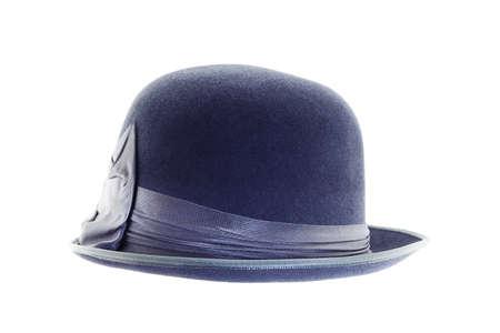 Retro dark blue hat isolated on white background photo