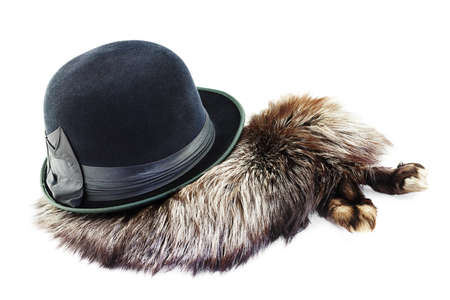 silver fox: Vintage velour hat on a silver fox fur isolated on white background Stock Photo