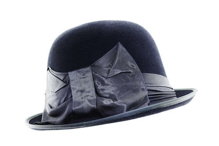 Vintage black hat with a bow  isolated on white background photo