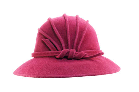 Retro crimson hat isolated on white background photo