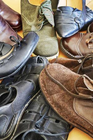footwear: Various footwear Stock Photo