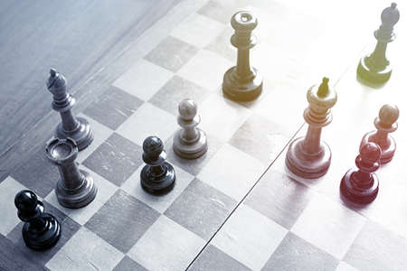 chess game: Old wooden chess