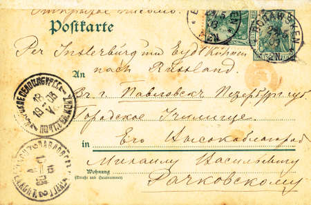 Reich: GERMANY - CIRCA 1903: Vintage open letter on post card with postage stamps of the German Reich sent   to St.Petersburg, Russia, circa 1903