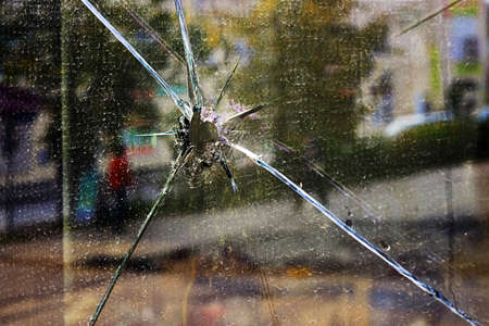 shopwindow: Dirty broken shopwindow Archivio Fotografico
