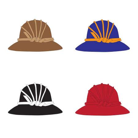 hem: Vintage hat with a band and brim Illustration