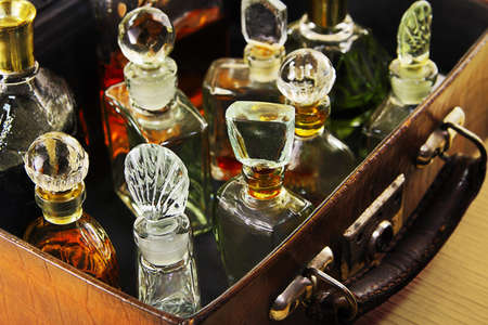 phial: Vintage perfume in the old suitcase