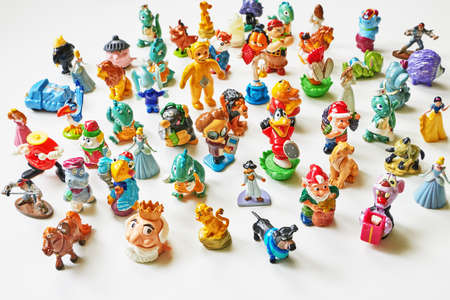 ST.PETERSBURG, RUSSIA -   March 13, 2016: Collection of small toys and toys of the Kinder Surprise. Editorial