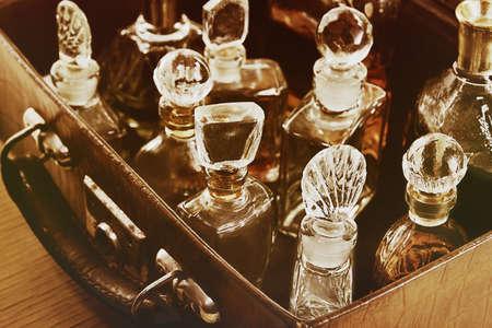Vintage perfume. Retro effect.