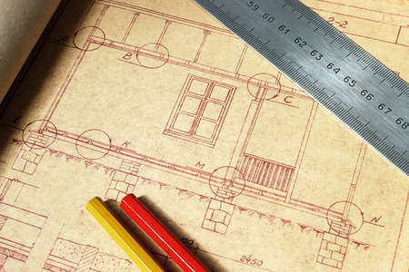 housebuilding: Design for a building country house Stock Photo