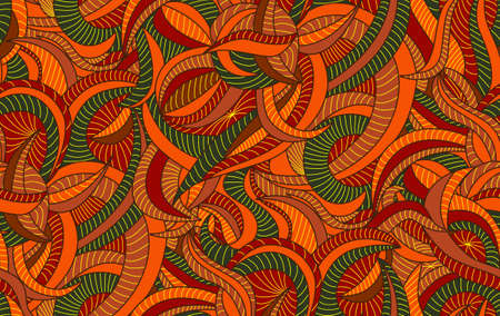 Seamless pattern background with fancy autumn leaves Illustration