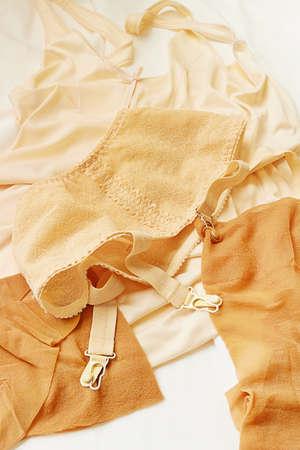 hosiery: Vintage underwear of a girl