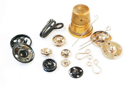 metal fastener: Vintage snap fasteners and bronze thimble