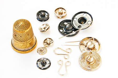 metal fastener: Old sewing implements