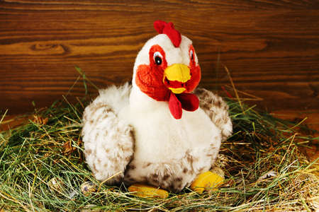 Toy chicken sits on eggs in the hen house Stock Photo