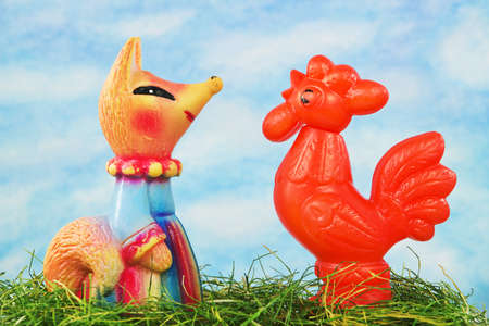 Scene from folk tales - the fox and the cock. Mass production in USSR, 1970-1980