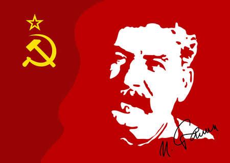 Illustration vectorielle d'un portrait de IV. Staline est un chef militaire du gouvernement communiste de l'URSS à 1953. Le portrait provient de la vidéo d'archives. Banque d'images - 78085604