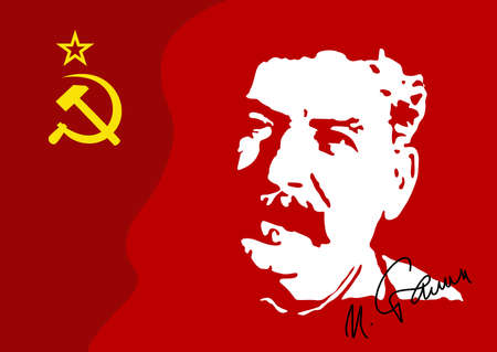 Vector illustration of a portrait of IV. Stalin is a military leader of the communist government of the USSR to 1953. The portrait is drawn from archive video.