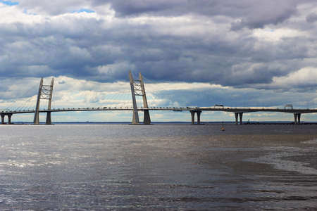 Cable-stayed bridge over the ships fairway Stock Photo